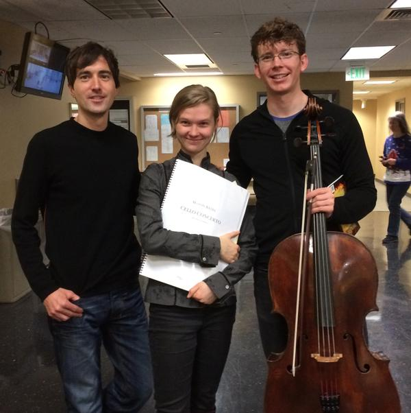 Mason Bates, Mirga Grazinyte-Tyla (conductor) and Joshua Roman (cello)